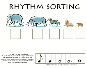 Rhythm Sorting Cut and Paste Activity