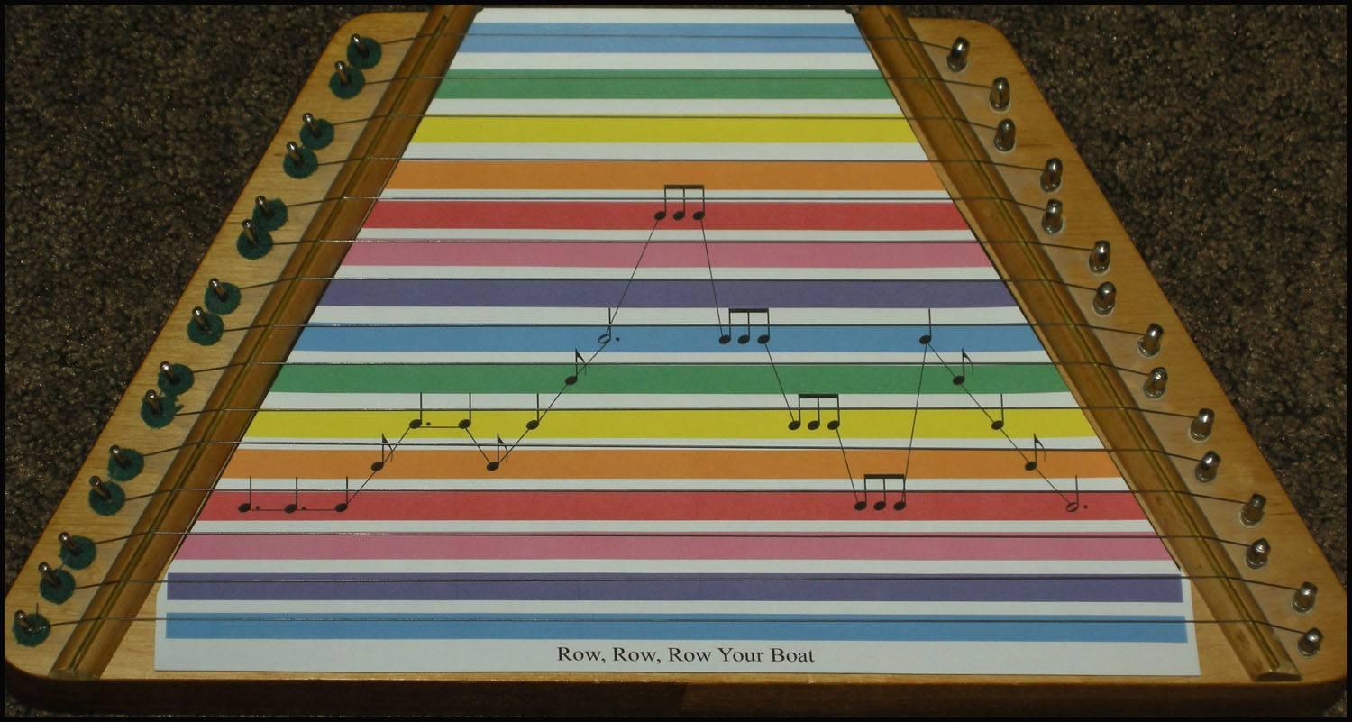 lap harp with color-coded music